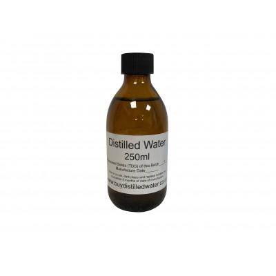 250ml Distilled Water in Amber Glass Bottle
