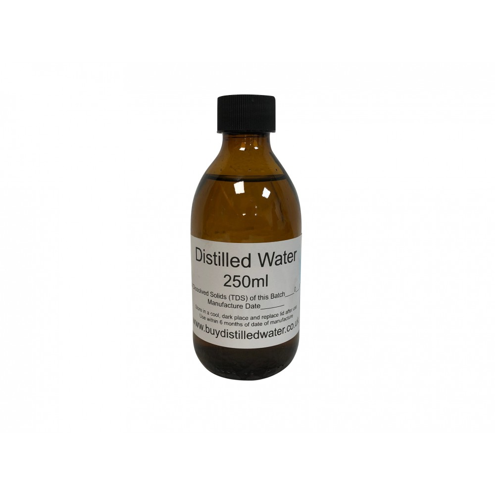 250ml Distilled Water in Amber Glass Bottle