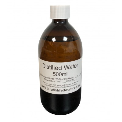 500ml Distilled Water in Amber Glass Bottle