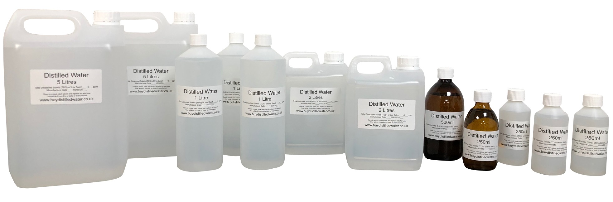 Our range of Distilled Water
